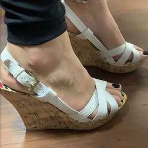 Qupid White Cork Wedge Heel